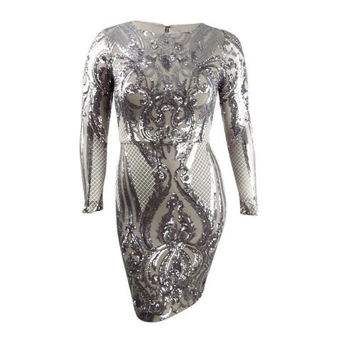 Betsy & Adam Women's Sequined Bodycon Dress - Taupe/Silver