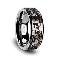 Stealth Tungsten Carbide Wedding Ring With Engraved Digital Camouflage