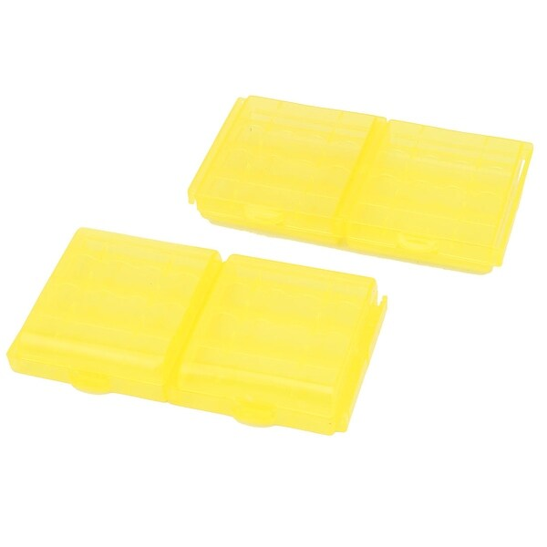 4PCS Plastic Portable Case Holder Storage Box Yellow for 4 x 1.5V AA Batteries
