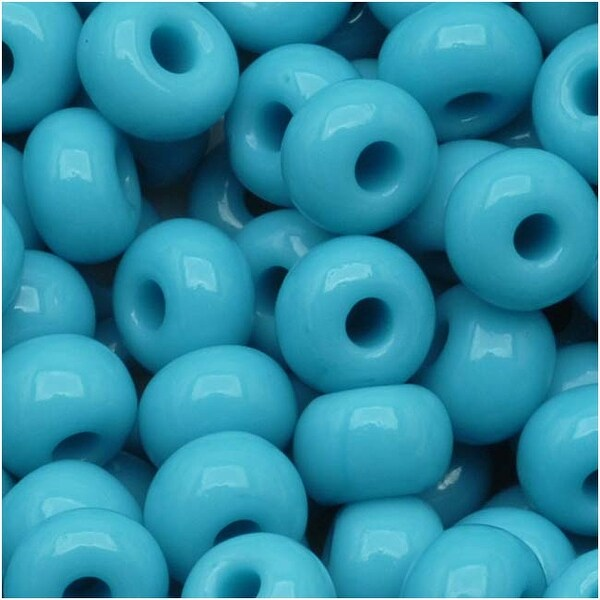 Czech Seed Beads 6/0 Blue Turquoise Opaque (1 Ounce)