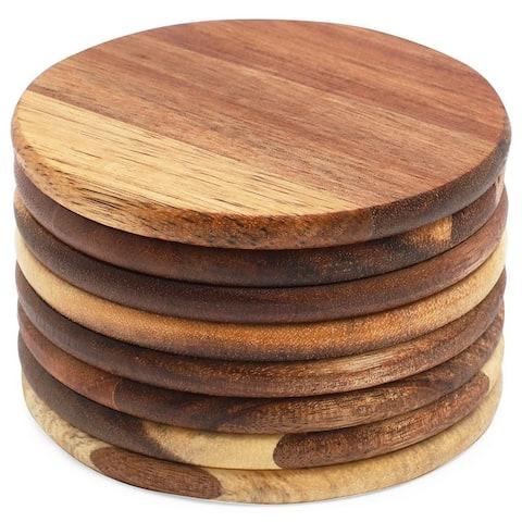 "Juvale 3.7"" Natural Acacia Wood Coasters Set for Drinks, Dark Brown 8 Pack"
