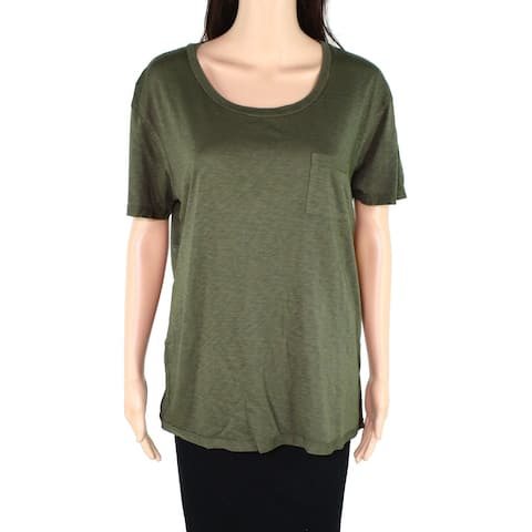 The Beginning of Womens Top Olive Knit Pocket T-Shirt