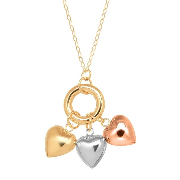 Just Gold Dangling Hearts Necklace in 14K Three-Tone Gold
