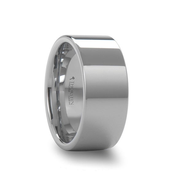 THORSTEN - STOCKTON Flat Style White Tungsten Ring - 10mm