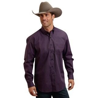 Stetson Western Shirt Mens Plaid Button Purple 11-001-0526-0621 PU