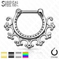 Laced Edge Tribal 316L Surgical Steel Septum Clicker (Sold Ind.) - Thumbnail 0