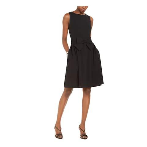 TAHARI Black Sleeveless Above The Knee Fit + Flare Dress Size 12