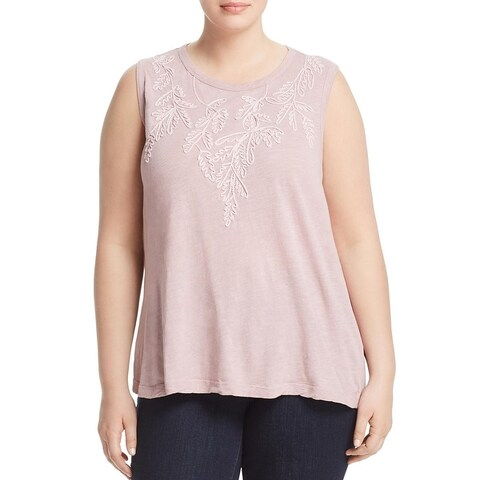 Lucky Brand Womens Plus Tank Top Embroidered Ruched