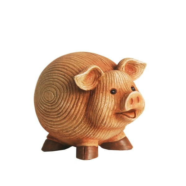 """7"""" Grooved Pink Roly-Poly Stone Pig Indoor/Outdoor Statue Decoration"""