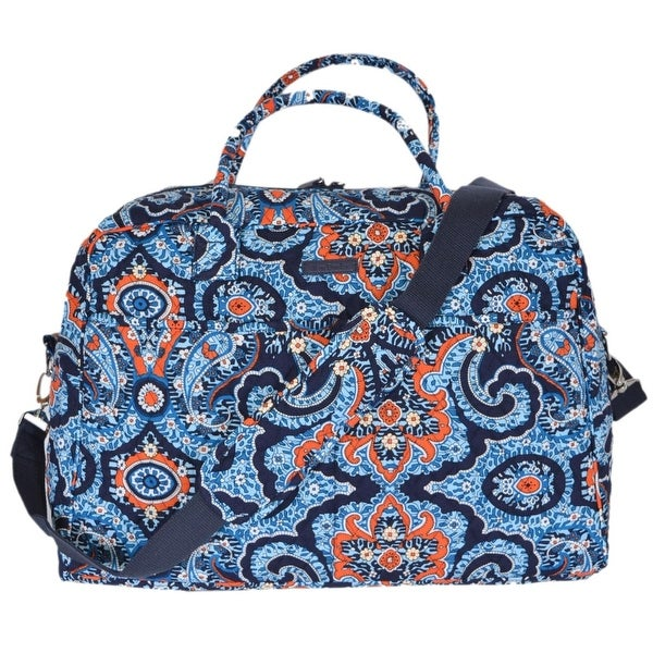 Vera Bradley MARRAKESH Floral Paisley Cotton Weekender Duffle Travel Bag.  Click to Zoom 0eae22b11295d