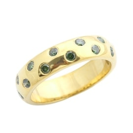 Beaitiful 0.50 Carat Bezel Set Green Diamond Wedding Band Ring