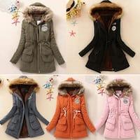 Women Fashion Loose Long Sleeve Hooded Soft Cotton Waist Casual Winter Coat