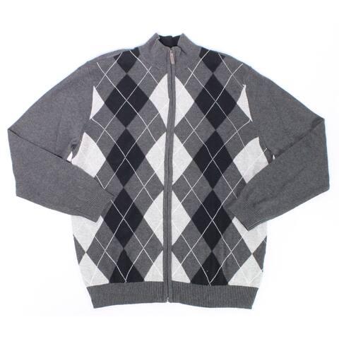 Club Room Mens Sweater Charcoal Gray Size XL Full-Zip Argyle Diamond