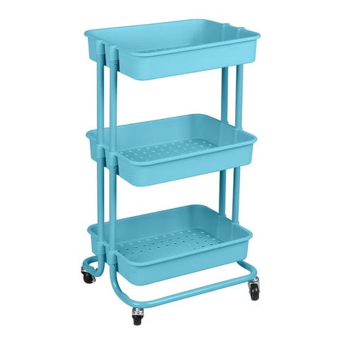 Home Basics 3 Tier Steel Rolling Utility Cart with 2 Locking Wheels, Blue