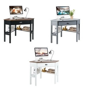 Gymax Corner Computer Desk Laptop Writing Table Workstation W/ Drawer