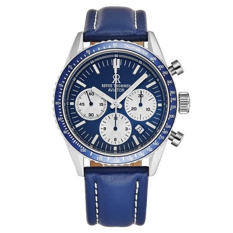 Revue Thommen Men's 17000.6535 'Aviator' Blue Dial Leather Strap Chronograph Automatic Watch
