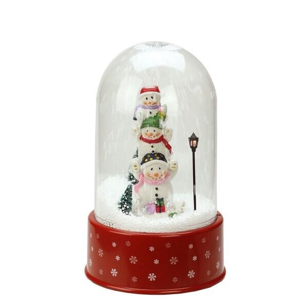 "11.75"" Lighted Musical Snowmen Christmas Snow Globe Glitterdome - RED"