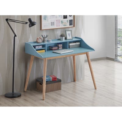 Roskilde Mid-Century Modern Wood Writing Desk with Hutch, Blue