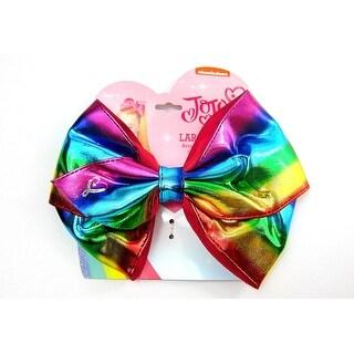 Jojo Siwa Large Cheer Metallic Rainbow Hair Bow on Elastic Ponytail Holder