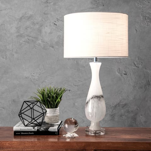 "nuLOOM 30"" Glass Marbleized Vase Linen Shade Table Lamp"