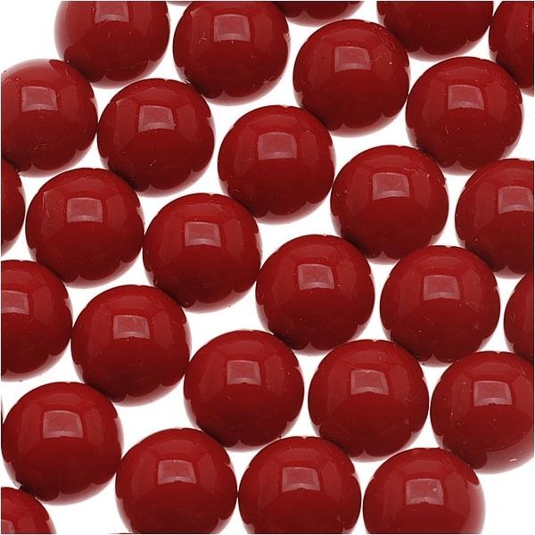 Czech Glass Round Party Beads 6mm - Dark Red (1 Strand / 29 Beads)