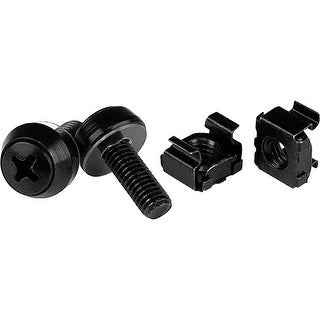 StarTech CABSCREWM6B StarTech.com M6 x 12mm - Screws and Cage Nuts - 50 Pack, Black - M6 Mounting Screws & Cage Nuts for Server