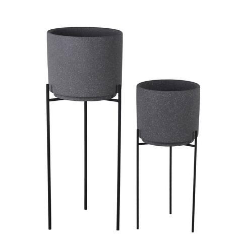 Set of 2 Stone Gray/Black Ceramic/Metal Planters
