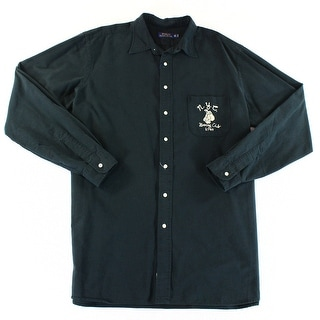 Polo Ralph Lauren NEW Black Men Size XLT Embroidered Button Down Shirt