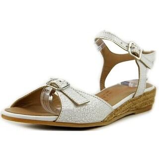 Eric Michael Nobo Women Open Toe Leather White Wedge Sandal