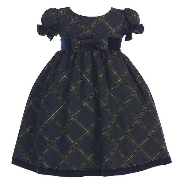 df935e9c0f5f4 Shop Green Plaid Short Sleeve Bow Christmas Dress Girls 3M-4T ...
