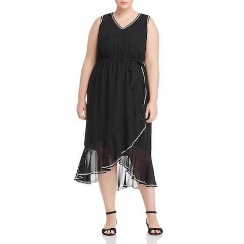 Vince Camuto Womens Plus Midi Dress Chiffon Ruffled - Rich Black