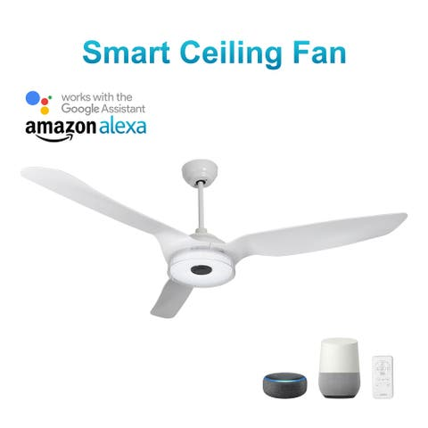 Icebreaker 60'' Smart Ceiling Fan with Remote, Light Kit IncludedWorks with Google Assistant and Amazon Alexa