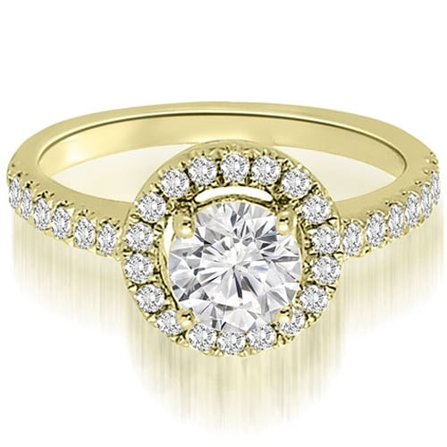 1.00 cttw. 14K Yellow Gold Halo Petite Round Cut Diamond Engagement Ring