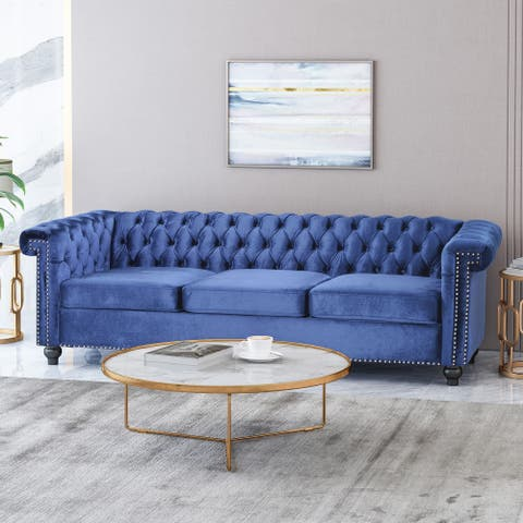 Parkhurst Tufted Chesterfield Velvet 3 Seater Sofa by Christopher Knight Home