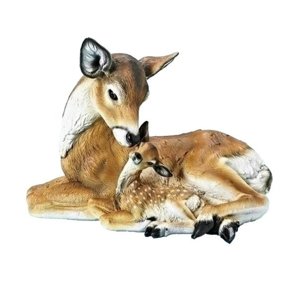 "11"" Winter Wonderland Laying Deer and Fawn Christmas Figurine"