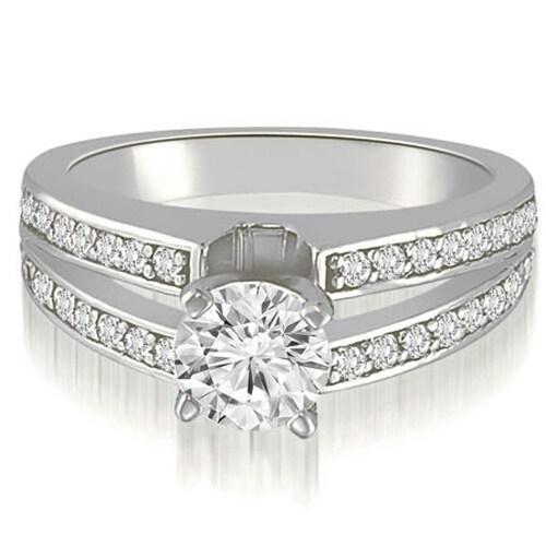 1.00 cttw. 14K White Gold Split-Shank Round Cut Diamond Engagement Ring