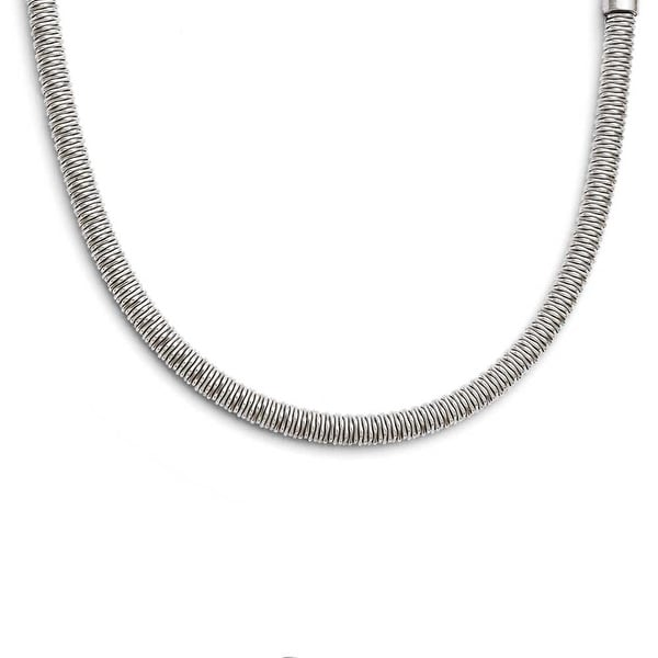Chisel Stainless Steel Polished & Textured with 1.5 inch ext Necklace (4 mm) - 17 in