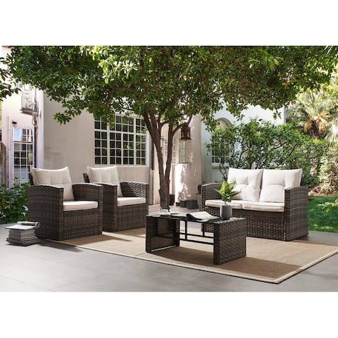 4 Pc Rattan Patio Furniture Set with Beige Cushions