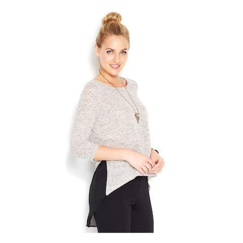 BAR III Womens Gray 3/4 Sleeve Jewel Neck Tunic Top Size S
