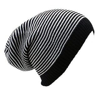 Striped Slouchy Beanie Hat