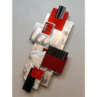 "Statements2000 Red/Silver Abstract Metal Wall Sculpture Accent by Jon Allen - Red Bird - 14"" x 32.5"""