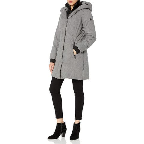 Kenneth Cole New York Women's Textured Heavy Puffer, Black, X-Large