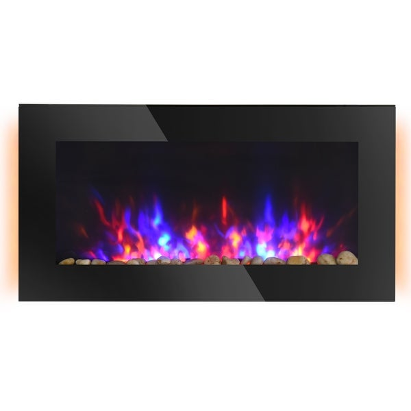 """HOMCOM 28.5"""" 1500W Electric Wall-Mounted Fireplace with Flame Effect, 7 Color Background Light and Side Light, Black. Opens flyout."""