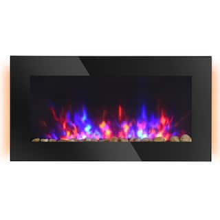 "HOMCOM 35.75"" 1500W Electric Wall-Mounted Fireplace with Flame Effect, 7 Color Background Light and Side Light, Black"