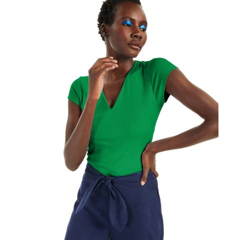 INC International Concepts Women's Ribbed V-Neck Top Green Size Medium