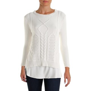 Avec Womens Pullover Sweater Cable Knit 2-in-1