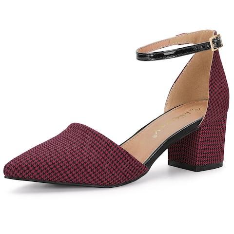 Allegra K Women's Houndstooth Pointed Toe Chunky Heel Pumps - Burgundy - 10