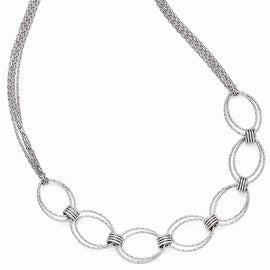Italian Sterling Silver Fancy Link Necklace with 2in ext - 17 inches