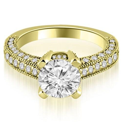1.45 cttw. 14K Yellow Gold Antique Milgrain Round Cut Diamond Engagement Ring