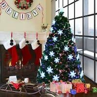 Costway 6' Pre-Lit Fiber Optic Artificial Christmas Tree w/Multi-Color Lights Snowflakes
